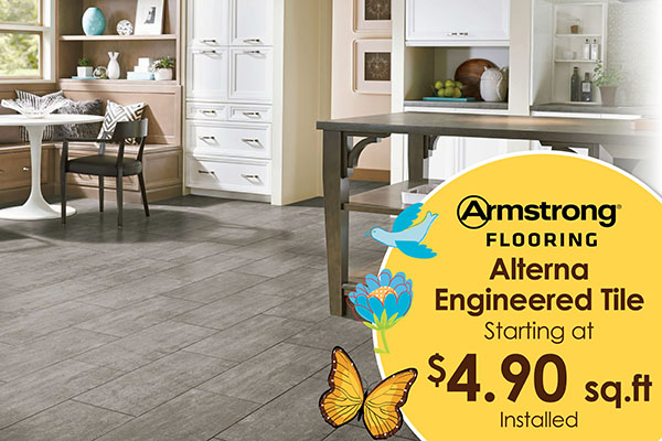 ARMSTRONG  ALTERNA ENGINEERED TILE  STARTING AT  $4.90 SQ. FT.  INSTALLED