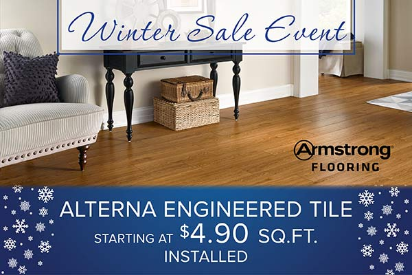 Alterna engineered tile starts at $4.90 sq. ft installed during our Winter Sale Event