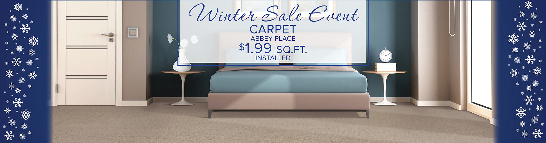 Abbey Place carpet $1.99 sq ft installed during our Winter Sale Event